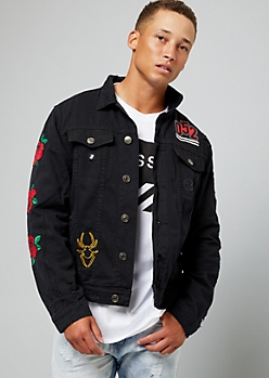 Black Rose Skeleton Bone Peace Sign Jean Jacket
