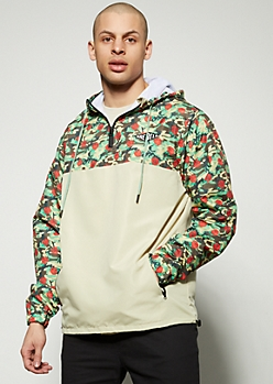 Camo Print Colorblock Rebel Windbreaker