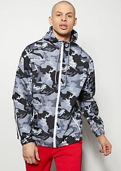 Gray Camo Print Side Striped Windbreaker