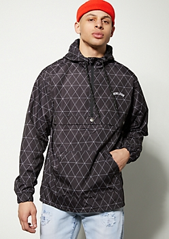 Black Geometric Half Zip Windbreaker