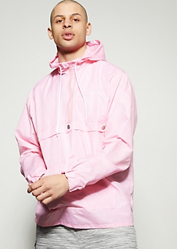 Pink Geometric Half Zip Windbreaker