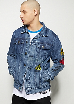 Medium Wash Patched Jean Jacket