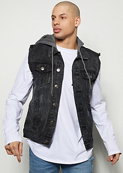Black Wash Knit Hooded Jean Vest