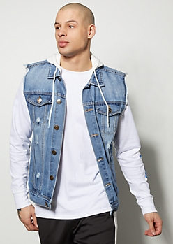 Light Wash Knit Hooded Jean Vest