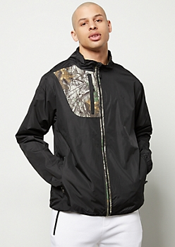 Realtree Black Camo Print Pocket Zip Front Windbreaker