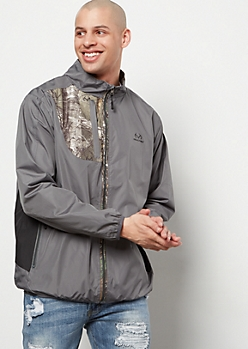 Realtree Gray Camo Print Pocket Zip Front Windbreaker