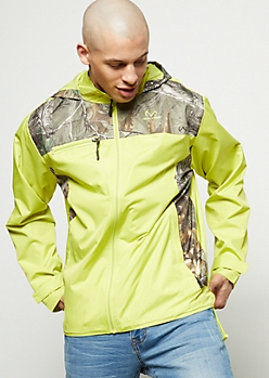 Realtree Neon Yellow Camo Print Hooded Windbreaker