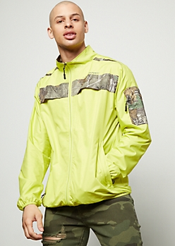 Realtree Neon Yellow Camo Print Zip Front Windbreaker
