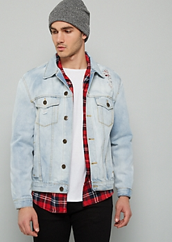Light Wash Distressed Button Down Denim Jacket