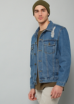 Medium Wash Peace Sign Distressed Denim Jacket