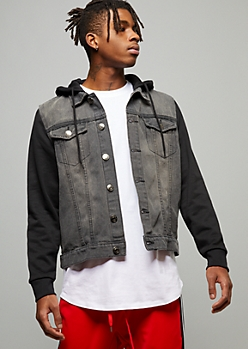 Black Wash Knit Hooded Denim Jacket