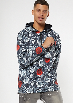Rose Print Half Zip Popover Windbreaker