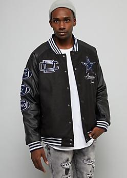 NFL Dallas Cowboys Black Varsity Bomber Jacket