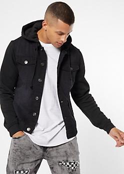 Black Knit Hood Jean Jacket