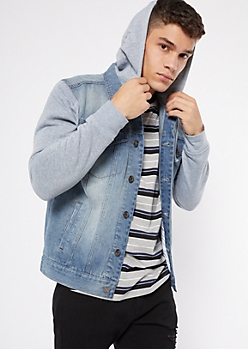 Medium Wash Knit Hood Jean Jacket