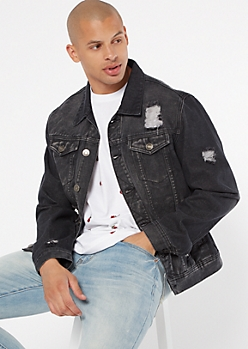Black Distressed Jean Jacket