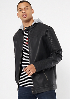 Black Faux Leather Hooded Moto Jacket
