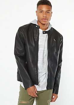Black Faux Leather Moto Hooded Jacket