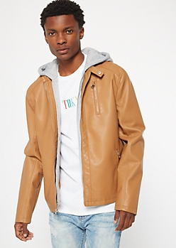 Cognac Faux Leather Moto Hooded Jacket