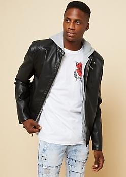 Black Faux Leather Hooded Moto Jacket
