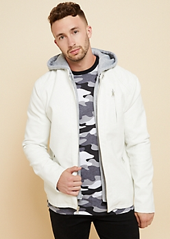 White Faux Leather Hooded Moto Jacket