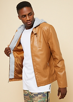 Cognac Faux Leather Hooded Moto Jacket