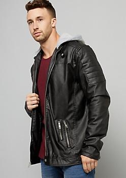 Black Topstitched Hooded Moto Jacket