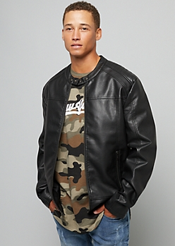 Black Moto Stitched Faux Leather Jacket