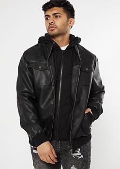 Black Hoodie Lined Bomber Jacket