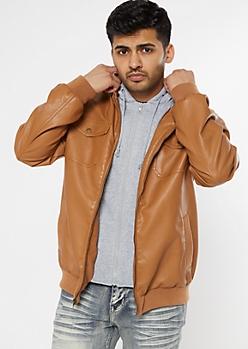 Cognac Hoodie Lined Bomber Jacket