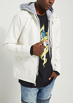 White Knit Layer Hooded Faux Leather Jacket