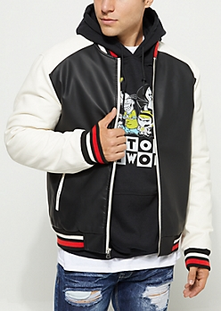 Faux Leather Color Block Varsity Jacket