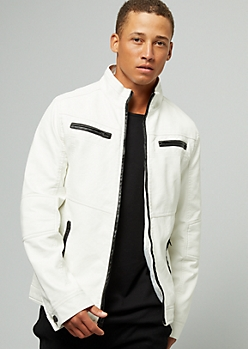 White Faux Leather Quilted Biker Jacket