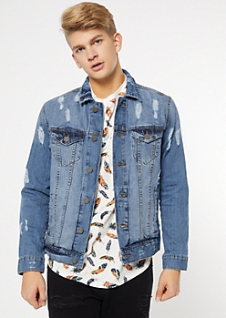 Light Wash Distressed Front Pocket Jean Jacket