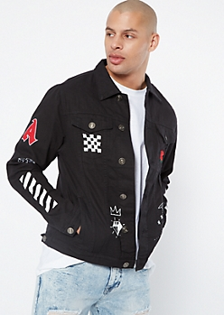 Black Striped No Bad Vibes Jean Jacket