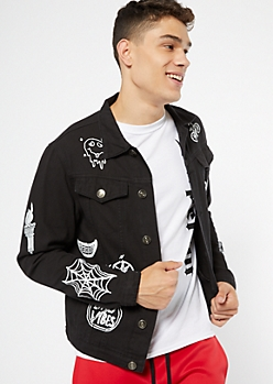 Black Doodled Jean Jacket