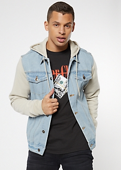 Light Wash Sand Fleece Jean Jacket