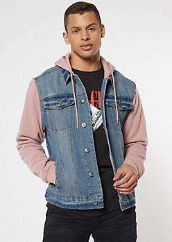 Medium Wash Dusty Pink Fleece Jean Jacket