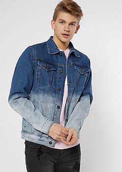 Medium Wash Dip Dye Jean Jacket