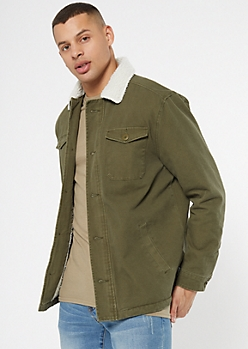 Olive Sherpa Lined Twill Jacket