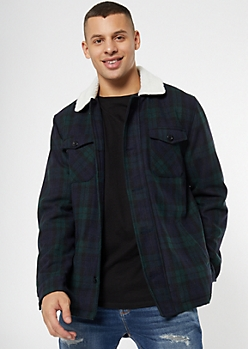 Navy Plaid Print Sherpa Lined Fleece Jacket