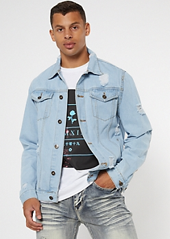 Light Wash Ripped Jean Jacket