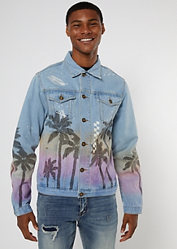 Medium Wash Doodle Sunset Jean Jacket