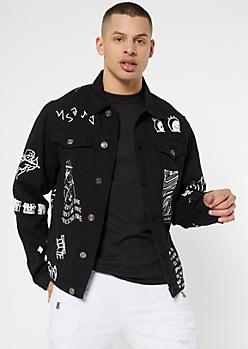 Black Kanji Graffiti Graphic Jean Jacket