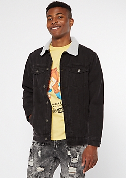 Black Sherpa Lined Jean Jacket