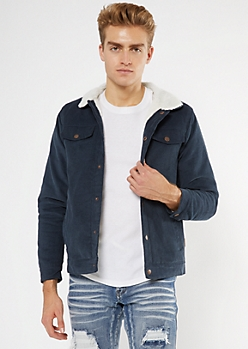 Navy Sherpa Lined Corduroy Trucker Jacket