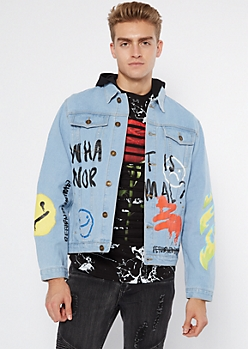 Light Wash Flame Graffiti Doodle Jean Jacket