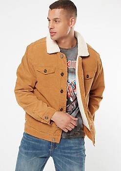 Brown Corduroy Sherpa Truck Jacket