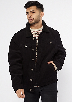 Black Corduroy Sherpa Trucker Jacket