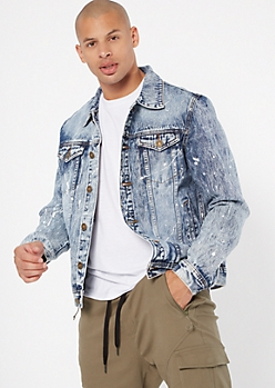Medium Acid Wash Paint Splattered Jean Jacket